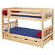 Maxtrix Bare Bone Twin Size Low Bunk (4 x Low) Slat Bed with Straight Ladder in Natural HOT SHOTNS