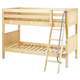 Maxtrix Bare Bone Twin Size Low Bunk (4 x Low) Panel Bed with Angle Ladder in Natural HOT HOTNP