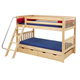 Maxtrix Bare Bone Twin Size Low Bunk (4 x Low) Slat Bed with Angle Ladder in Natural HOT HOTNS