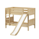 Maxtrix Bare Bone Twin Size Low Bunk (4 x Low) Panel Bed with Straight Ladder and Slide in Natural SMILE-001