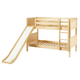 Maxtrix Bare Bone Low Bunk (4 x Low) Panel Bedroom Set in Natural (Straight Ladder and Slide)