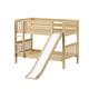 Maxtrix Bare Bone Twin Size Low Bunk (4 x Low) Slat Bed with Straight Ladder and Slide in Natural SMILENS