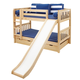 Maxtrix Bare Bone Low Bunk (4 x Low) Slat Bedroom Set in Natural (Straight Ladder and Slide)