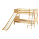 Maxtrix Bare Bone Low Bunk (4 x Low) Panel Bedroom Set in Natural (Angle Ladder and Slide)