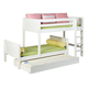Maxtrix Bare Bone Twin Size Parallel and L-Shaped Bunk (4 x Low) Panel Bedroom Set in White MISHW