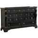 American Woodcrafters Heirloom Collection 10-Drawer Triple Dresser in Black with Rub Through Highlights 2900-210
