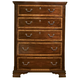 American Woodcrafters Wellington Manor 5-Drawer Chest in Rich Mahogany with Inlaid Prima Vera Veneer 75000-150