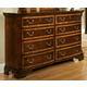 American Woodcrafters Wellington Manor 8-Drawer Triple Dresser in Rich Mahogany with Inlaid Prima Vera Veneer 75000-280
