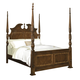 American Woodcrafters Wellington Manor Queen Poster Bed in Rich Mahogany with Inlaid Prima Vera Veneer 75000-50POS
