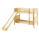 Maxtrix Bare Bone Twin Size Medium Bunk (2 Low/2 High) Panel Bed with Straight Ladder and Slide in Natural JOLLY-001