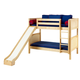 Maxtrix Bare Bone Medium Bunk (2 Low/2 High) Panel Bedroom Set in Natural (Straight Ladder and Slide)