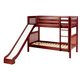 Maxtrix Bare Bone Twin Size Medium Bunk (2 Low/2 High) Slat Bed with Straight Ladder and Slide in Chestnut JOLLY-003