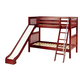 Maxtrix Bare Bone Twin Size Medium Bunk (2 Low/2 High) Slat Bed with Angle Ladder and Slide in Chestnut HAPPY-003