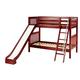 Maxtrix Bare Bone Medium Bunk (2 Low/2 High) Slat Bedroom Set in Chestnut (Angle Ladder and Slide)