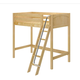 Maxtrix Bare Bone Twin Size High Loft (2 x LOW) Panel Bed with Angle Ladder in Natural KNOCK OUT-001