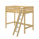 Maxtrix Bare Bone Twin Size High Loft (2 x LOW) Slat Bed with Angle Ladder in Natural KNOCK OUT-001