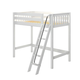 Maxtrix Bare Bone Twin Size High Loft (2 x LOW) Slat Bed with Angle Ladder in White KNOCK OUT-002