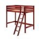Maxtrix Bare Bone Twin Size High Loft (2 x LOW) Slat Bed with Angle Ladder in Chestnut KNOCK OUT-003