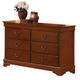 Acme Louis Philippe 6-Drawer Dresser in Cherry Oak 00395