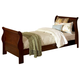Homelegance Chateau Brown Twin Sleigh Panel Bed in Warm Distressed Cherry 549T-1