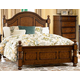 Homelegance Langston Queen Poster Bed in Brown Cherry 1746-1
