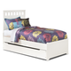 Lulu Twin Panel Bed with Trundle Under Bed Storage in White