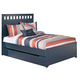 Leo Full Panel Bed with Trundle Under Bed Storage in Blue