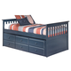 Leo Twin Bed with Trundle Frame and Drawer Box in Blue