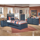 Leo 4-Piece Panel Bedroom Set with Trundle Under Bed Storage in Blue