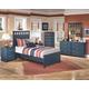 Leo 4-Piece Panel Bedroom Set in Blue