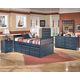 Leo 4-Piece Bedroom Set with Trundle Frame and Drawer Box in Blue