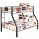 Dinsmore Twin/Full Bunk Bed in Black Silver