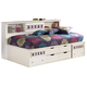 Zayley Twin Bookcase Bed in White