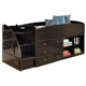 Embrace Twin Loft Bed with Left Storage Steps in Merlot