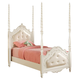 Acme Pearl Twin Poster Bed with Cushioned Headboard and Footboard in Pearl White 11000T CLEARANCE