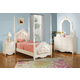 Acme Pearl Poster Bedroom Set with Cushioned Headboard and Footboard in Pearl White