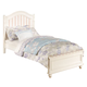 Acme Zoe Twin Panel Bed in White with Pink Striped Headboard 11035T