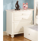 Acme Zoe Nightstand in White with Pink Striped Details 11039