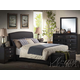 Acme Ireland PU Platform Bedroom Set with Rounded Headboard in Black