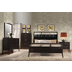 Acme Boardwalk Tufted Leather Headboard Panel Bedroom Set in Wenge