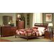 Homelegance Rivera Upholstered Sleigh Bedroom Set in Warm Brown Cherry