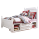 Samuel Lawrence Furniture SummerTime Full Poster Bed with Underbed Storage in Bright White