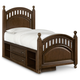 Samuel Lawrence Furniture Expedition Twin Poster Bed with Underbed Storage in Cherry