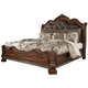 Ledelle Queen Sleigh Headboard Bed with Upholstered Faux Leather in Brown