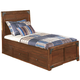 Delburne Twin Platform Storage Bed with Roll Slat in Medium Brown