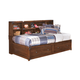 Delburne Twin Storage Bed with Bookcase Studio Headboard in Medium Brown