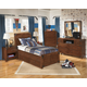 Delburne Platform Storage Bedroom Set with Roll Slat in Medium Brown