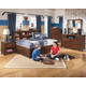 Delburne Storage Bedroom Set with Bookcase Studio Headboard in Medium Brown