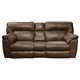 Catnapper Nolan Extra Wide Power Reclining Console Loveseat w/ Storage & Cupholder in Chestnut