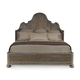 Bernhardt Belgian Oak King Curved Crown Panel Bed in French Truffle